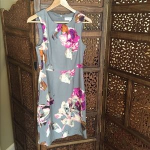 Like New Trina Turk Grey Floral Dress Size 6